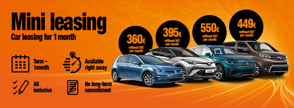 Car leasing for 1 month or longer. No down payment